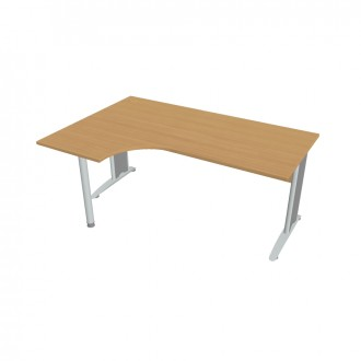 Stůl ergo 180 x 120 cm, pravý HOBIS - CE 1800 60 P - šedý kov