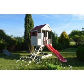 Domeček dětský dřevěný Veranda se skluzavkou