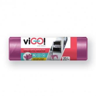 viGO pytle na odpadky suchy, 35l, 50x66 cm, 8 mc, HDPE, fialové,vůně levandule, 26 ks